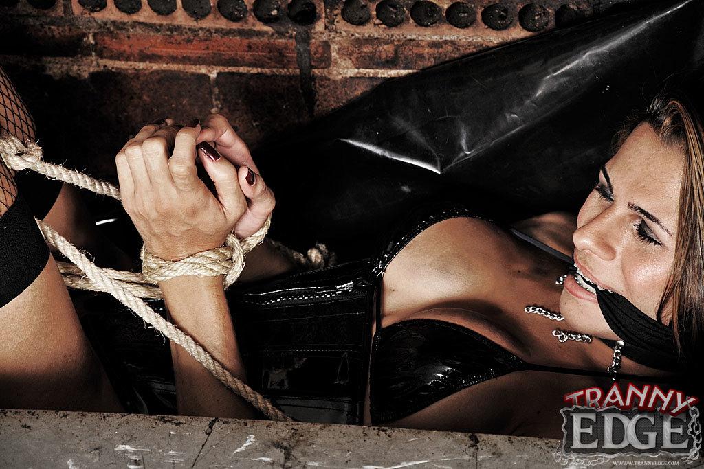 Gas Mask Clad Master Punishes His Tgirl Slave